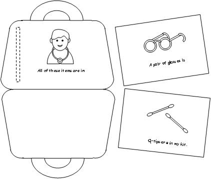 Print The Pages Have Children Cut Apart And Place Them Over Dotted Line Staple In Fold Bottom Part Of Doctors Kit Up To