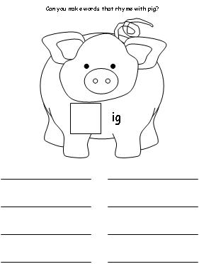 an, -ig, -og, -ow Word Family Worksheets