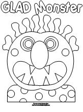 coloring page for glad monster sad monster - Monster Coloring Page