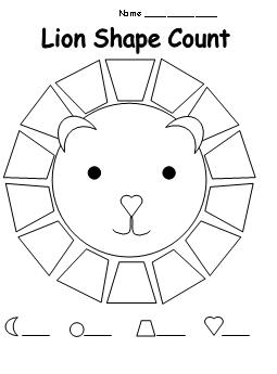 Shape Count Worksheet for Lion Theme