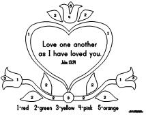 """Love one Another"" Color by Number learning printables for kids"