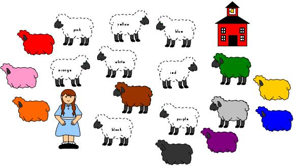 Color Word File Folder Game For Mary Had A Little Lamb