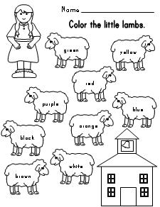 Worksheets Free Color Word Worksheets fun learning printables for kids lamb color word worksheet mary had a little lamb