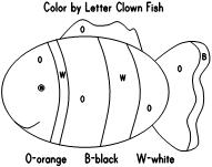 clown fish color by letter - Color By Letter Printables