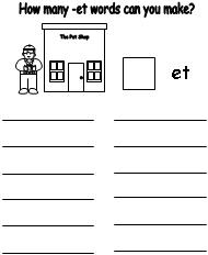 Worksheets En Word Family Worksheets et word family worksheet worksheet