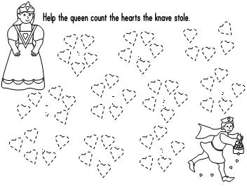 Math Ideas For The Queen Of Hearts How Many Coloring Page