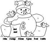 Printable Page Snowman With Birds Color