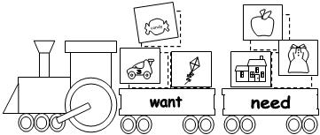 Worksheets Needs And Wants Worksheet Cut And Paste train wants and needs worksheet